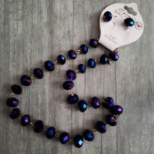 Midnight Purple AB Faceted Glass Bead Necklace Set